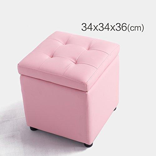 Quadratischer PVC-Holzspeicherhocker beschuht Schemelhockerpfeil-Sofabank ( Color : Pink , Size : 34*34*36cm )