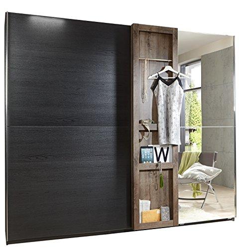 Wimex Kleiderschrank/ Schwebetürenschrank Boston, (B/H/T) 300 x 220 x 65 cm, Schlammeiche/ Absetzung Schwarzeiche