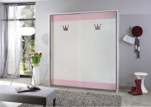 Wimex Schwebetürenschrank 304770 Cindy, Weiß, Abs. Rosé, 139 cm Breite,
