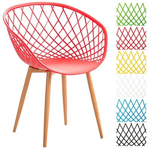 CLP Esszimmerstuhl MORA mit pflegeleichter Kunststoff-Sitzschale | Retrostuhl mit Lehne und einem Metallgestell in Holzoptik | Besucherstuhl mit Bodenschonern und einer Sitzhöhe von 46 cm Rot
