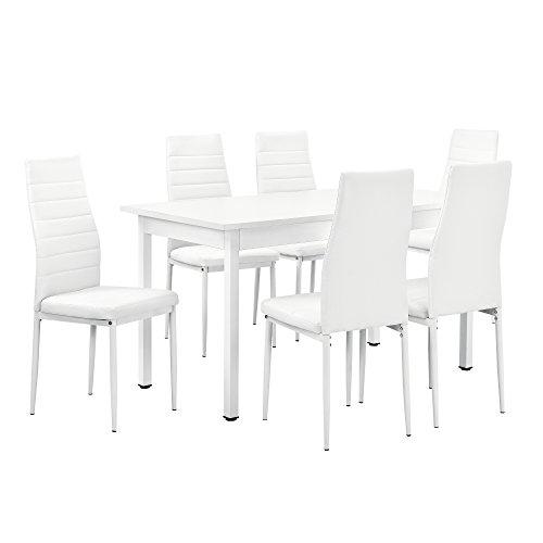 [en.casa]® Esstisch weiß 140cm x 60cm x 75cm + Stühle weiß 96 cm x 43cm