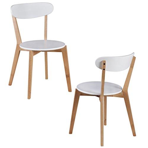 Wohnling 2er Set Esszimmerstühle MDF Weiß Design Holz-Stühle retro Küchenstühle skandinavisch Essstühle Sitzmöbel Retrostyle elegant Stuhlset nordisch Küchenmöbel Holzbeine Designerstuhl zweifarbig