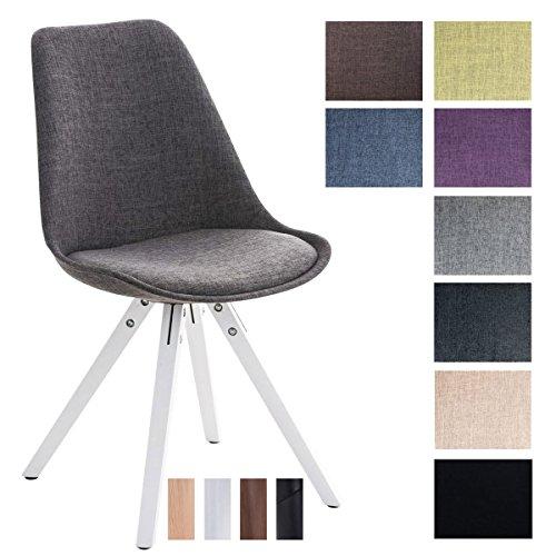 CLP Design Retro-Stuhl PEGLEG SQUARE mit Stoffbezug | Gepolsterter Schalenstuhl mit Holzbeinen und einer Sitzhöhe von: 46 cm | In verschiedenen Farben erhältlich Hellgrau, Holzgestell Farbe weiß, Bein-Form eckig