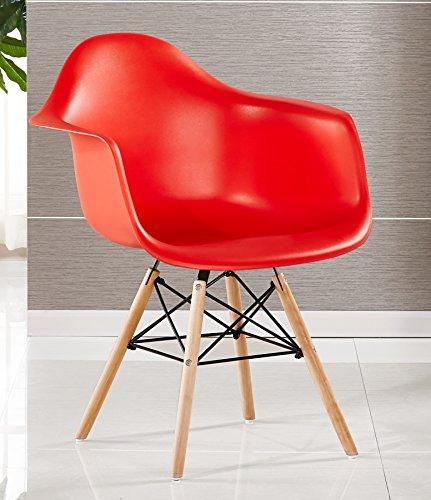 P & N Homewares® Moda Wanne Stuhl Kunststoff Retro Esszimmer Stühle weiß schwarz grau rot gelb grün Retro rot