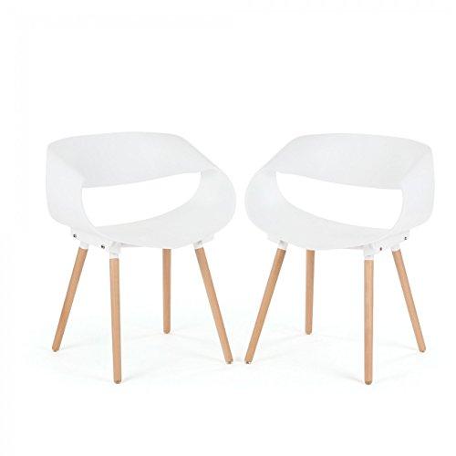 Makika Retro Stuhl Design Stuhl Esszimmerstühle Bürostuhl Wohnzimmerstühle Lounge Küchenstuhl Sitzgruppe 2er Set aus Kunststoff mit Rückenlehne MAYA in Weiß