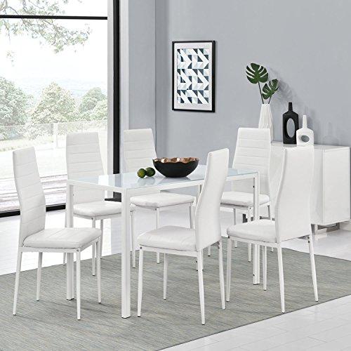 ArtLife Essgruppe aus 6er Set Stühle New York und Esstisch Manhattan XL in weiß