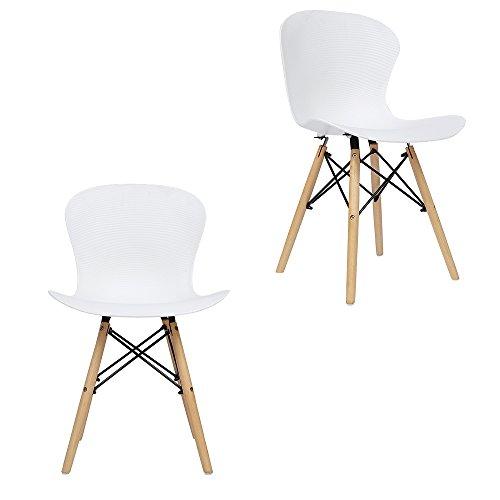 Panana 2x Holz Eiffel Stuhl aus Kunststoff Gerippter Stuhl Retro, Lounge Esszimmer Stühle weiß