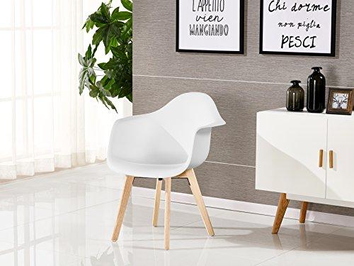 P & N Homewares® Rico DA Tub Stuhl skandinavisch Esszimmerstuhl Bürostuhl Wohnzimmer Stuhl in Weiß Dunkelgrau Hellgrau Weiß und Schwarz Retro Skandinavischer Stuhl Moderner Moderner Stuhl (Weiß)
