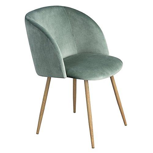 EGGREE 1er Set Vintager Retro Stuhl Sessel Polstersessel Samt Lounge sessel Clubsessel Fernsehsessel (Grün)