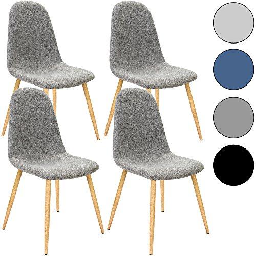 4x Deuba® Design Stuhl Esszimmerstühle Küchenstuhl • 50cm Sitzhöhe • ergonomisch geformte Sitzschale • 120kg Belastbarkeit • Stuhlbeine mit Naturholzoptik • hellgrau