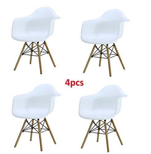 4x Retro Designerstuhl, 4er Esszimmerstühle mit Armlehne, Küchenstuhl mit Lehne & 4 Holz Beinen Design Essstuhl, weiß