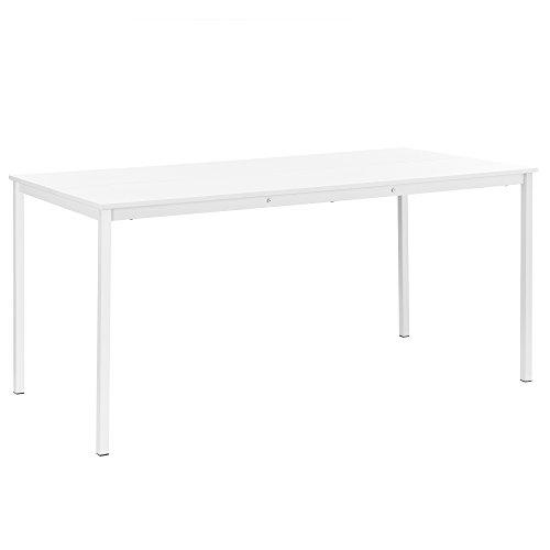 [en.casa] Hochwertiger Esstisch weiß furniert 160cm x 80cm x 75cm MDF/Metall