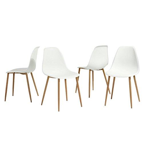Aingoo Stuhlset 4er Stühle Wohnzimmerstuhl Bürostuhl Esszimmerstühle Sitzgruppe Essgruppe in Weiß
