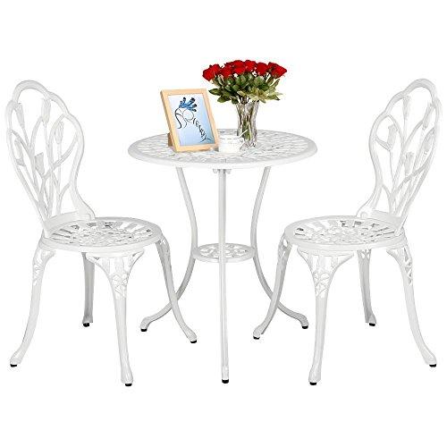 Yaheetech Essgruppe Garten Tisch + zwei Sitzhocker Bistro Set Gartenmöbel Weiß