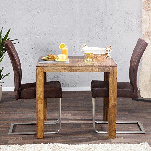 CAGÜ Design ESSTISCH [SATNA] aus SHEESHAM Massiv Holz 70cm x 70cm, Neu!