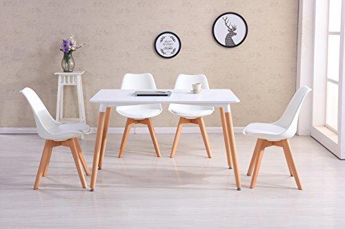 CrazyGadget® – Möbel-Set Tulip im Retro-Design mit Tisch und Stühlen, Massivholzstuhlbeine, gepolstert für Büro / Lounge / Küche – Weiß