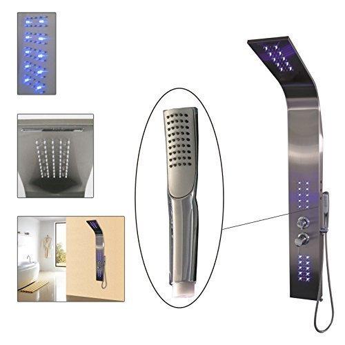 DRULINE 4 Funktionen Duschpaneel LED Beleuchtung Duscharmatur Thermostat Duschsäule