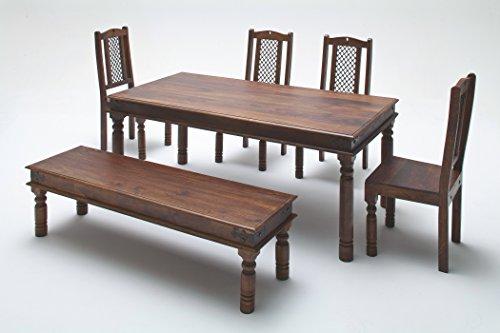 Esstisch 178 x 90 cm mit Bank und 4 Stühlen Sheesham massiv