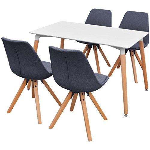 Festnight 5-teilige Essgruppe inkl. 1 Esszimmertisch und 4 Essstühle Retro Küchen-Set Esszimmer Sitzgruppe Esszimmergarnitur - Weiß und Dunkelgrau