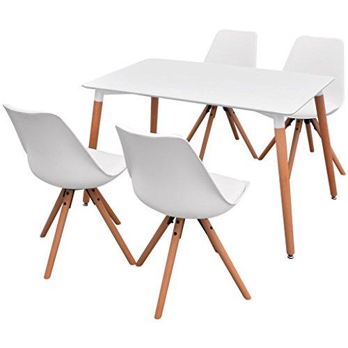 Festnight 5-teilige Retro-Chic Essgruppe mit 1 Tisch und 4 Esszimmerstühle Esstisch Essstuhl Set Esszimmergarnitur Sitzgruppe Weiß