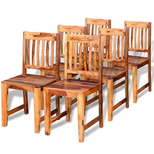 Festnight Esszimmerstühle Set 6 Stk. Holz Stühle Essstuhl Küchenstühle Stuhl-Set aus Sheesham-Massivholz 40 x 46 x 87 cm