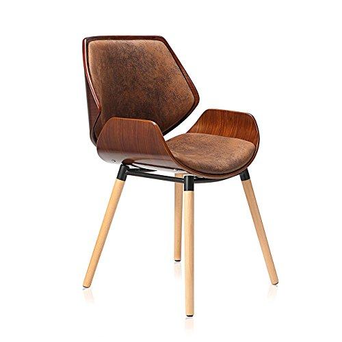 Makika Design Stuhl Retro Bürostuhl Vintage Hocker Kunstleder Wohnzimmerstuhl Esszimmerstuhl Küchenstuhl Sessel Holzbeine - Maxim in Braun