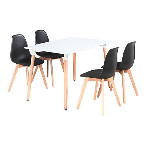 P & N Homewares® Rico Esstisch und Stühle Set 4Stühlen und 1Esstisch Retro und Moderne Esszimmergarnitur weiß schwarz und grau Stühle Modern schwarz