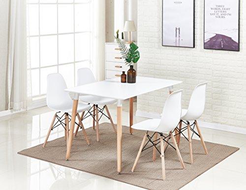 P & N Homewares®, Romano Moda Esstisch-Set mit Retro-inspiriertem Stuhl und Tisch, Farbe weiß oder grau, mit modernem Esstisch-Set weiß