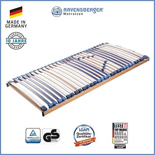 Ravensberger Matratzen MEDI XXL® Lattenrost | 5-Zonen-Buche-Schwergewichts-Lattenrahmen | 30 Leisten| starr | MADE IN GERMANY - 10 JAHRE GARANTIE | TÜV/GS 90x200 cm