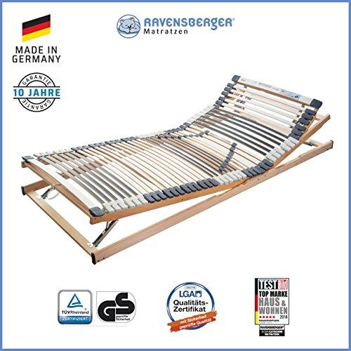 Ravensberger Matratzen Medimed® Lattenrost | 7-Zonen-Buche-Lattenrahmen | 44 Leisten| verstellbar| MADE IN GERMANY - 10 JAHRE GARANTIE | TÜV/GS 100x200 cm