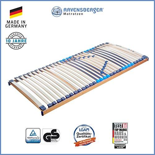 Ravensberger Matratzen Meditop Lattenrost | 5-Zonen-Buche-Lattenrahmen | 30 Leisten| Starr | MADE IN GERMANY - 10 JAHRE GARANTIE | TÜV/GS 80x190 cm