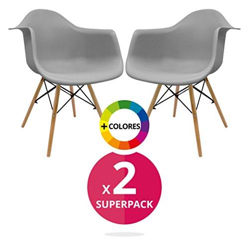 Stuhl Bettbezug (Pack 2)-Sessel tower-Stuhl Nordic Skandinavien inspiriert Sessel Eames DAW-Cala-(wählen Sie Ihre Farbe) grau