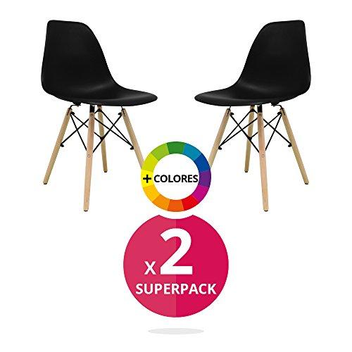 Stuhl Bettbezug (Pack 2)-Tower One-Stuhl Nordic Skandinavien inspiriert Stuhl Eames DSW Stuhl (wählen Sie Ihre Farbe) Schwarz