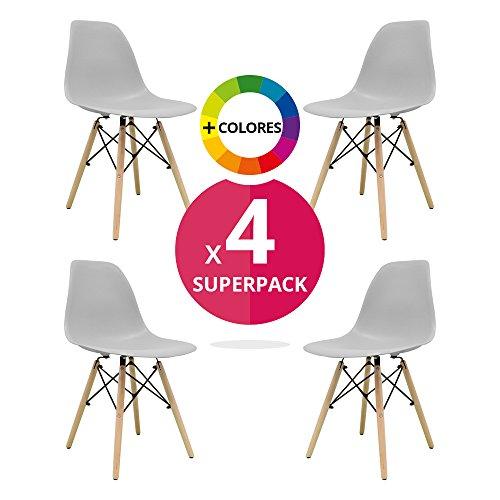 Stuhl Bettbezug (Pack 4)–Tower One–Stuhl Nordic Skandinavien inspiriert Stuhl Eames DSW Stuhl (wählen Sie Ihre Farbe) grau