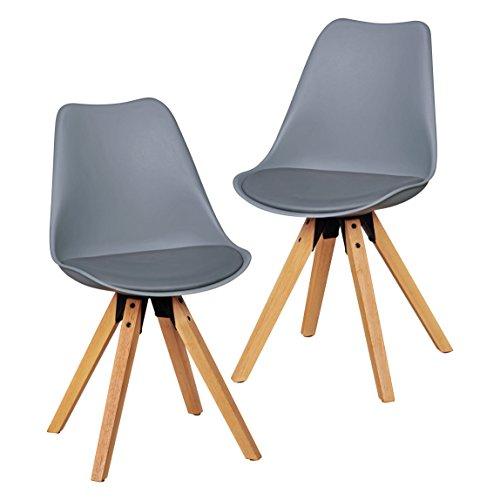 Wohnling 2er Set Retro Esszimmer-Stuhl ohne Armlehne Sitzfläche Kunstleder Küchenstuhl mit Lehne aus Kunststoff und 4 Holz Beinen Skandinavisches Design Essstuhl, Lederimitat, grau, 48 x 42 x 87 cm