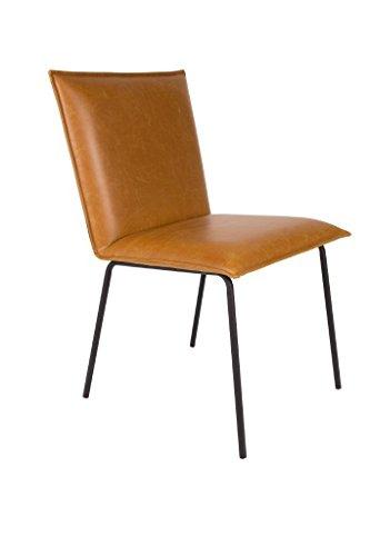 Zuiver 2er Set Stuhl FLOKE Esszimmerstuhl in Kunstleder Braun