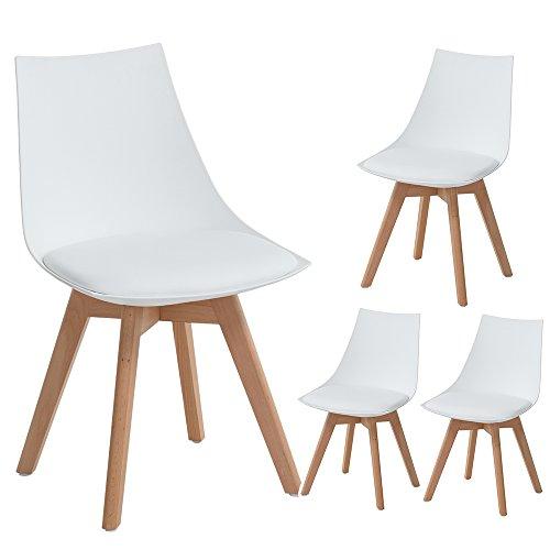 4er Set Holz küchen stühle, EGGREE Retro gepolsterter Bürostuhl mit Füßen in massivem Buchenholz - Weiß,50*48*82 cm