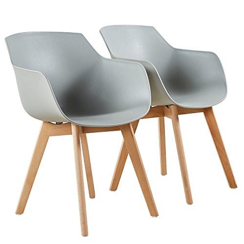 EGGREE 2er Set Esszimmerstühle Skandinavisch mit Armlehne und Starke Buche Stuhlbeine, Modern Design Sessel für Büro Küche Wohnzimmer,Grau