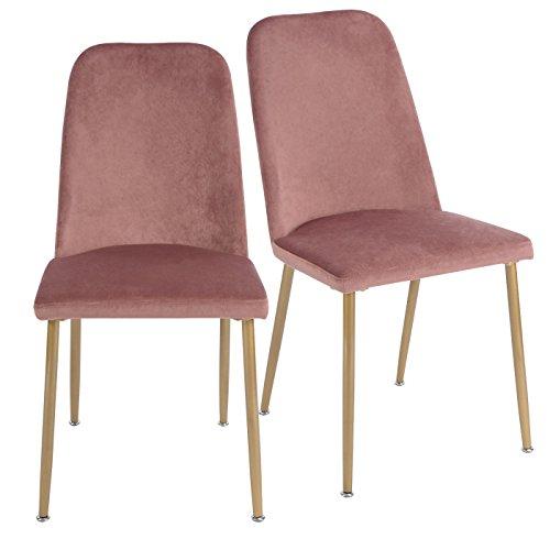 EGGREE 2er Set Stühle Samt Esszimmerstühle Retro mit Küchenstühlen Hohe Rückenlehne und Weich Gepolsterter Sitz, Stabilen Metall Beinen, Rose