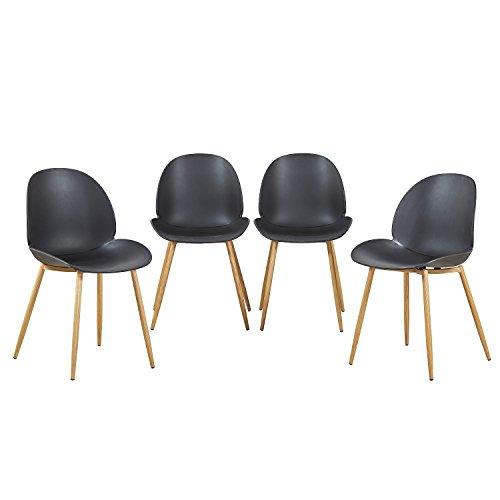EGGREE 4er Set Esszimmerstühle Skandinavisch mit Starke Metallbeine, Modern Design Stuhl für Büro Küche Wohnzimmer, Schwarz