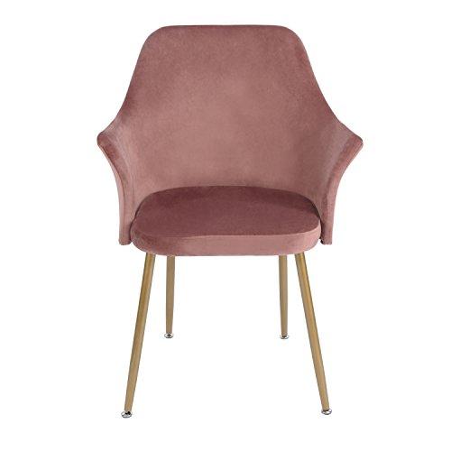 EGGREE Stuhl Samt Esszimmerstuhl Küchenstuhl Retro Polstersessel mit Weich Kissen Sitz und Metall Beine, Rosa