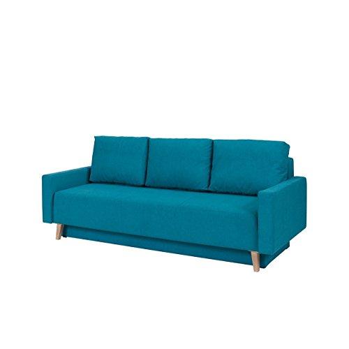 Home Direct Sofa Oskar, Couch mit Bettkasten und Schlaffunktion, Farbauswahl, Polstersofa, Bettsofa im skandinavischen Stil (Moric 13, Füße: San Remo Eiche Hell)