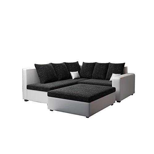 Mirjan24 Ecksofa Monari Couch mit Polsterhocker Wohnzimmer Kollektion Eckcoch, Polstersofa, Polstergarnitur, Polstercouch, Farbauswahl (Seite: Links, Dolaro 511 + Kornet 10)