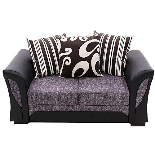 Panana Sofa 2 Sitzen mit 3 Kissen PU Mikrofaser, 160 x 83 x 85cm