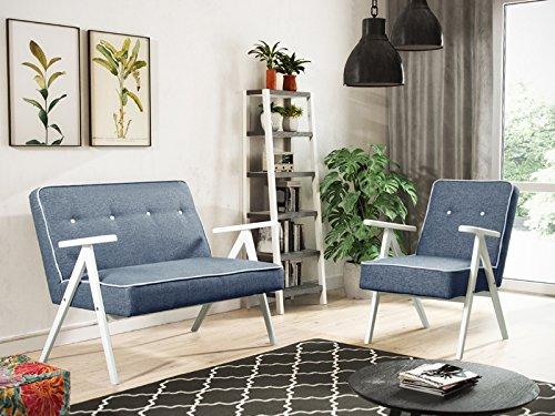 Sofaset mit Holz Sofa mit Sessel Couch Sofagarnitur Polstermöbel Polstersofa 2er 2-Sitzer Garten Terrasse Balkon RETRO (Blau)