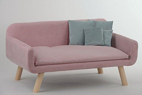 animal-design Hundesofa New (22145) mit Kissen Polstersofa Couch Hundebett Katzenbett Schlafplatz für Hunde und Katzen Versch. Farben, Farbe:Rosa