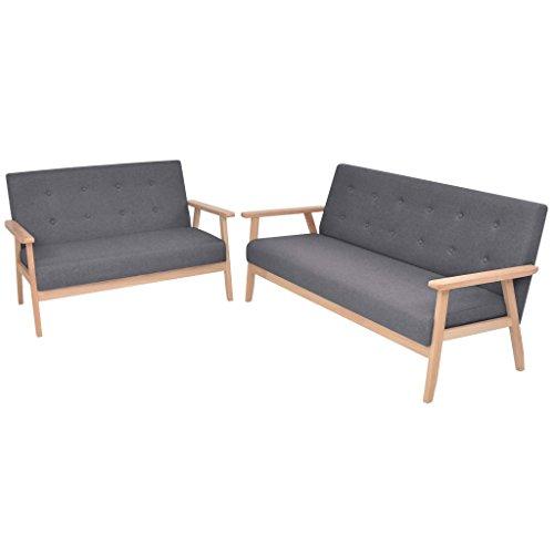 vidaXL 2-Sitzer Sofa Stoff Dunkelgrau Polstersofa Loungesofa Couch Stoffsofa