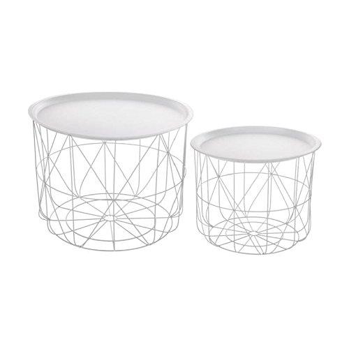 2-teiliges Set: ineinander passende Kaffeetische mit abnehmbarer Platte - modernes Design - Farbe WEIß