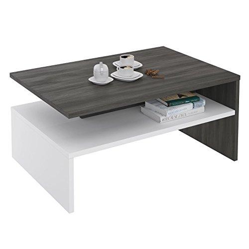 CARO-Möbel Couchtisch Paulina Wohnzimmertisch Sofatisch in Esche Grau/Weiß, 90 x 60 cm mit Ablagefach