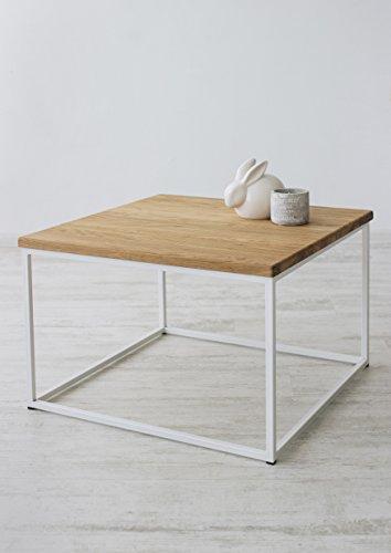 Das Original-BestLoft® Eiche Metall Couchtisch Beistelltisch Industiedesign loft Vintage Sofatisch massiv Holz (Eiche hell + Gestell weiß)